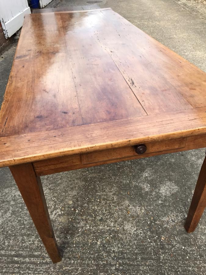 Beautiful cherry French farmhouse table with bread slide