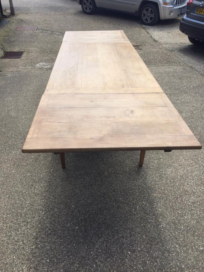 Bleached oak double drawer leaf antique farm table