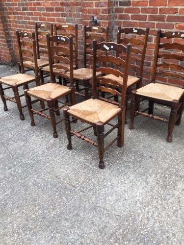 8 Vintage English ladder back rush seats