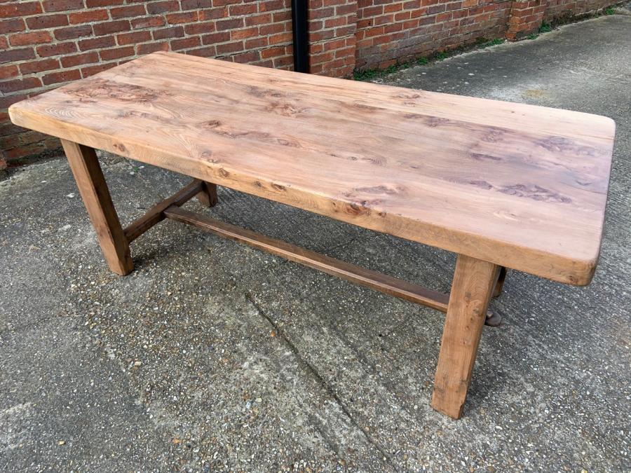 Elm Normandy Thick Top Pale Rustic Table