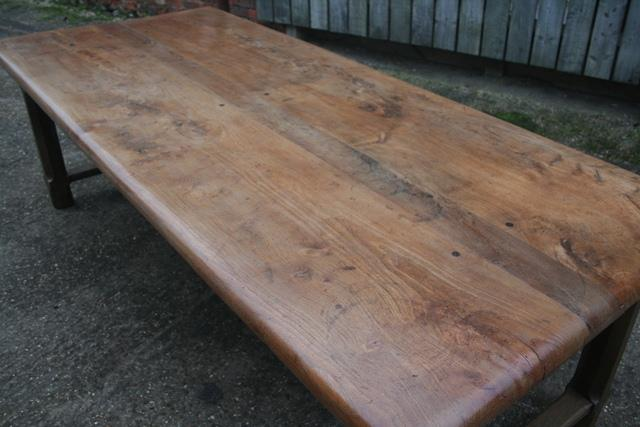 Elm Refectory Table with four drawers