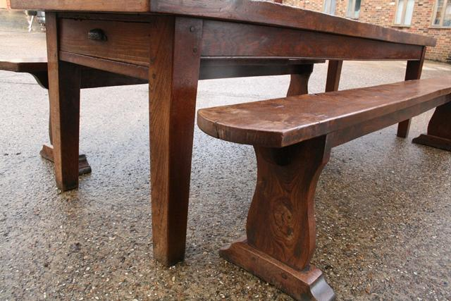 Exceptional large Elm table with two wide elm benches