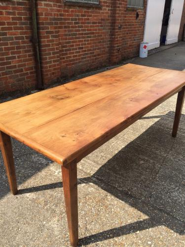 6' 7 ft French farmhouse elm table with lovely little breadslide