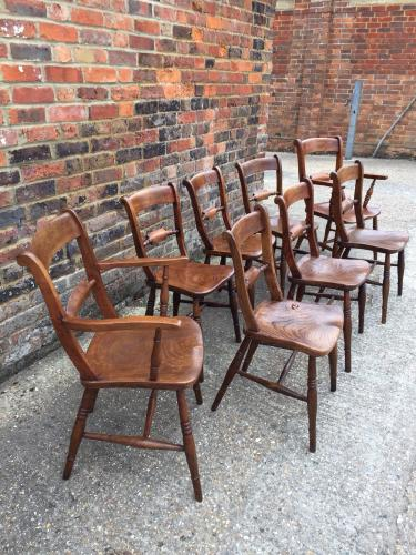 Harlequin set of Oxford scroll back chairs