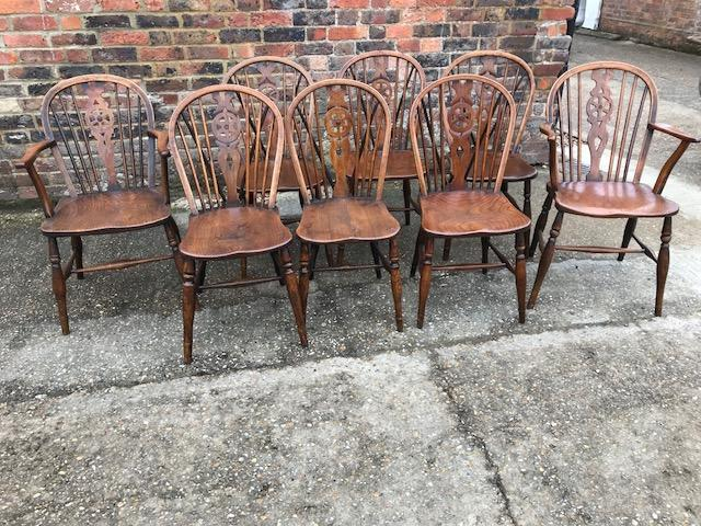 Harlequin set of Windsor Wheel back chairs