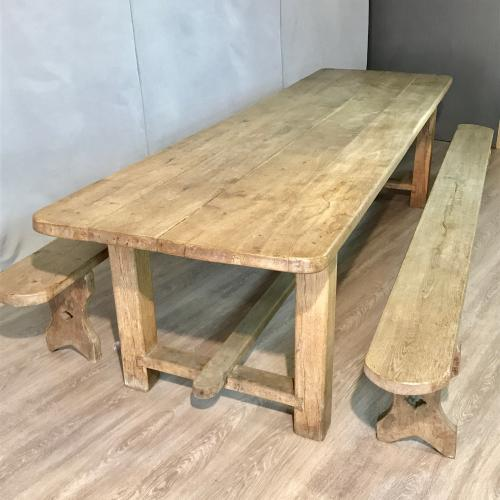 Large Antique oak dining table with benches