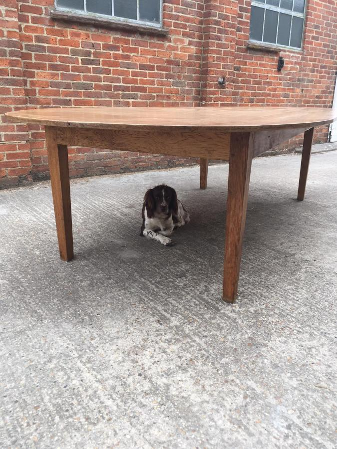 Large antique oval oak table