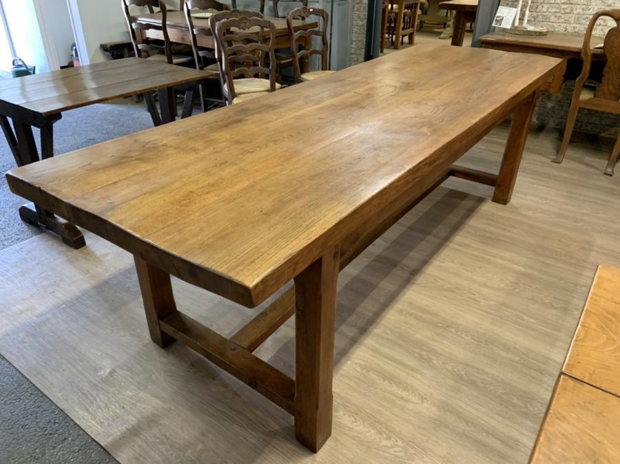 Large Oak Three Plank Top Farmhouse Table