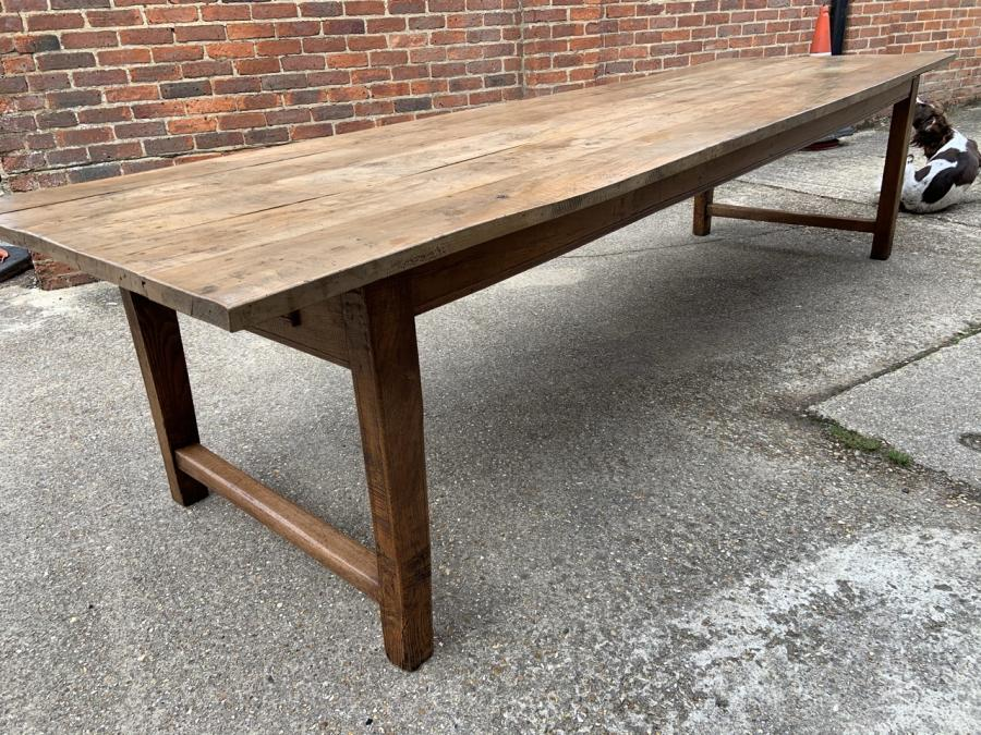 Large Pale Beech Farmhouse Table With H End Stretcher