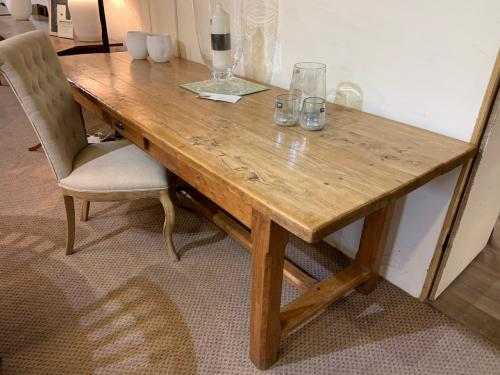 Large Pale Elm French Farmhouse Table With Drawer