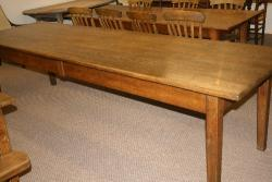 Large pale oak table with 2 drawers