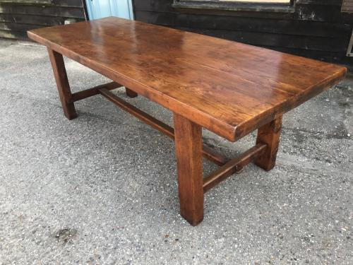 Large Thick Top Rustic Elm Antique Table