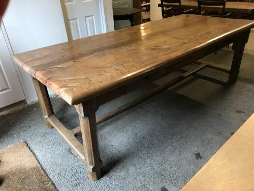 Large Thick Top Rustic Wide Elm Table With Four Drawers