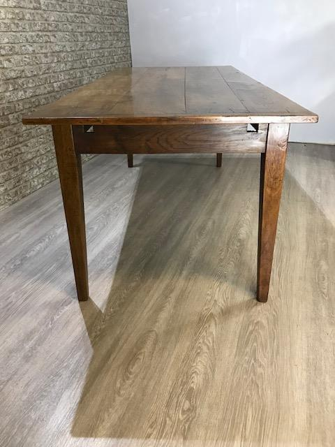 Lovely wide antique cherry table with slide