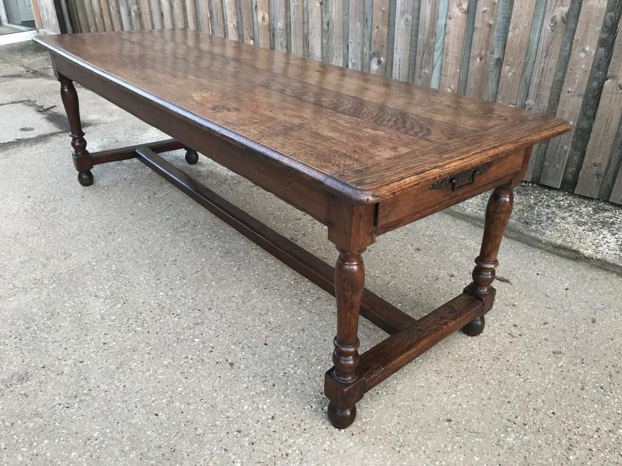 18th Century Oak Antique Dining Table with two drawers
