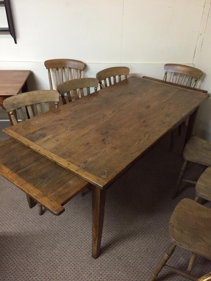 Oak small farmhouse table with two breadslides