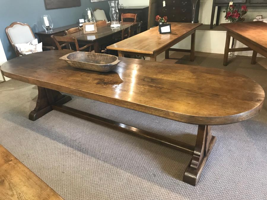 Oval oak antique farmhouse table