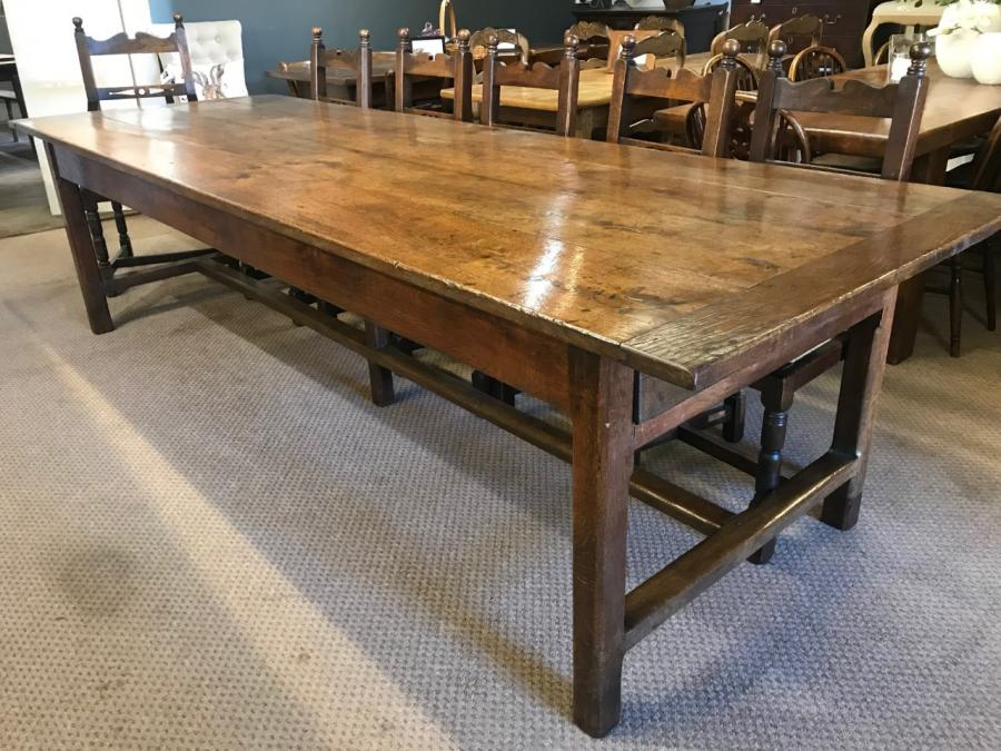 Rare Large 18th Century Oak Dining Table