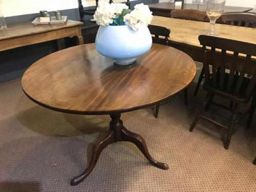 Round Mahogany Single Plank Tilt Top Table