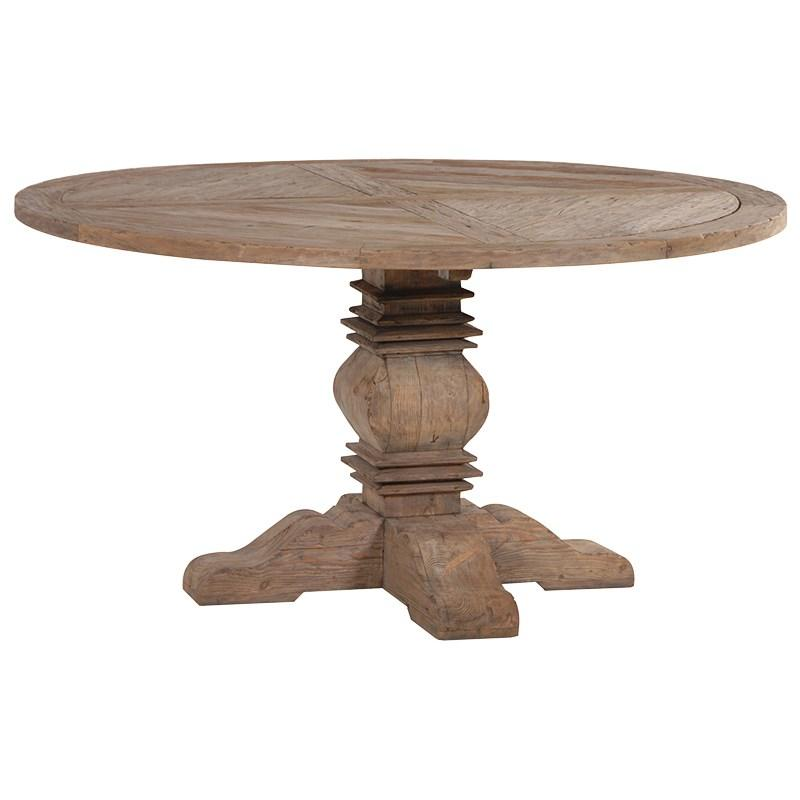 Rustic pine round 5ft table on centre pedestal pine pale for 5ft coffee tables