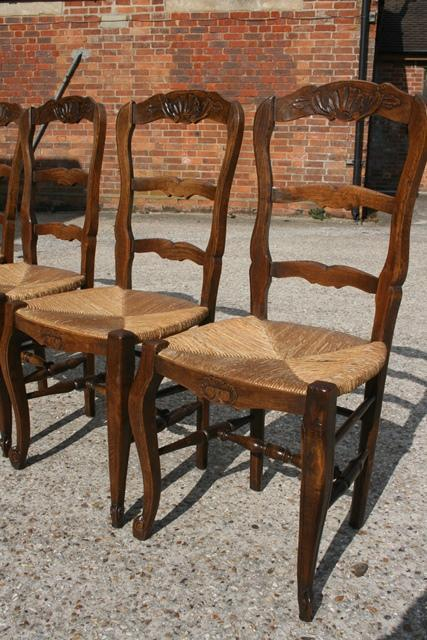 Set Of 6 Oak French Ladderback Chairs Ladderback Chairs
