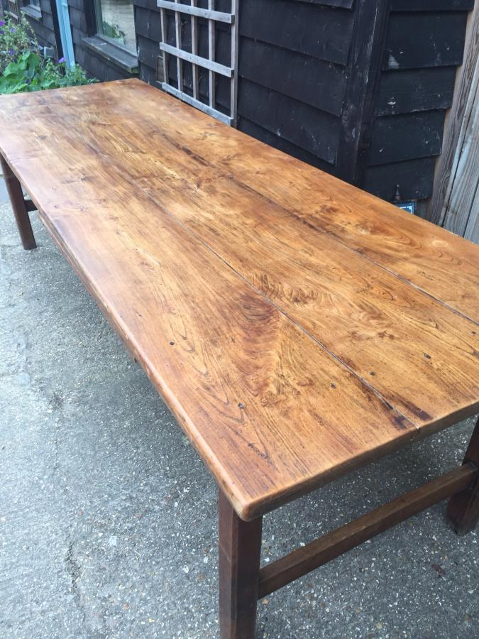 Stunning Elm antique farmhouse table with bread slide