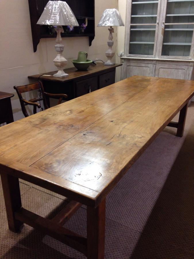 Stunning large antique elm farmhouse table