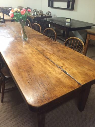 Very large Antique two plank beech table