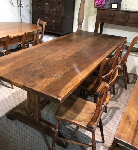 Walnut  trestle table  - circa 1850