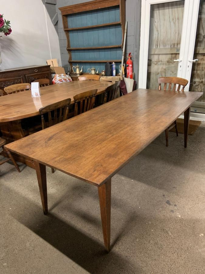 Wide 19th Century Oak Tapered Leg Farmhouse Table