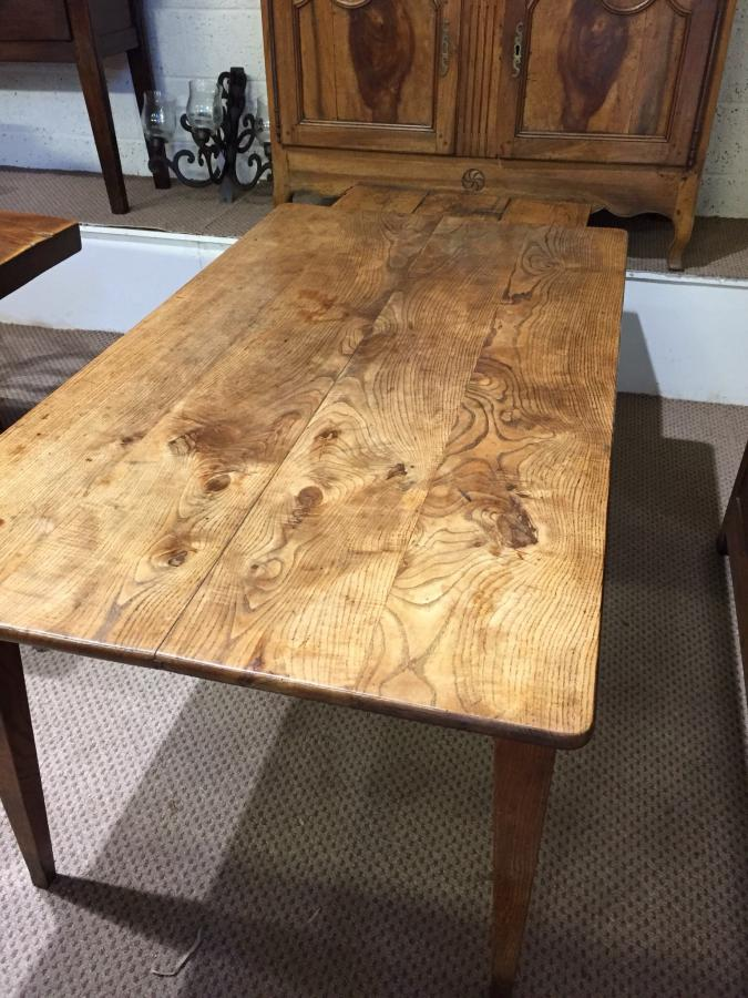 Wide four plank with one drawer Ash tapered leg farmhouse table