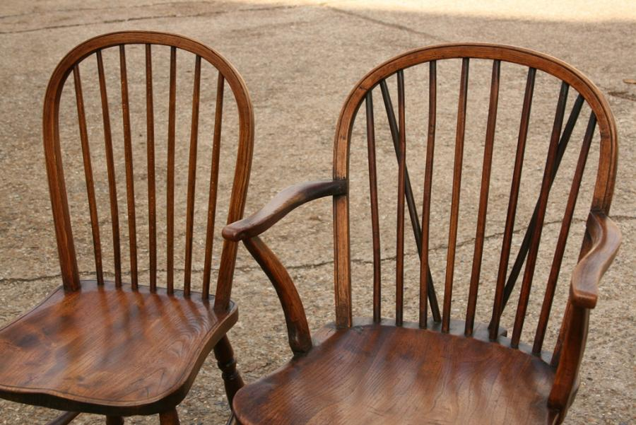 Windsor Stick back chairs 6 + 2 (Carvers)